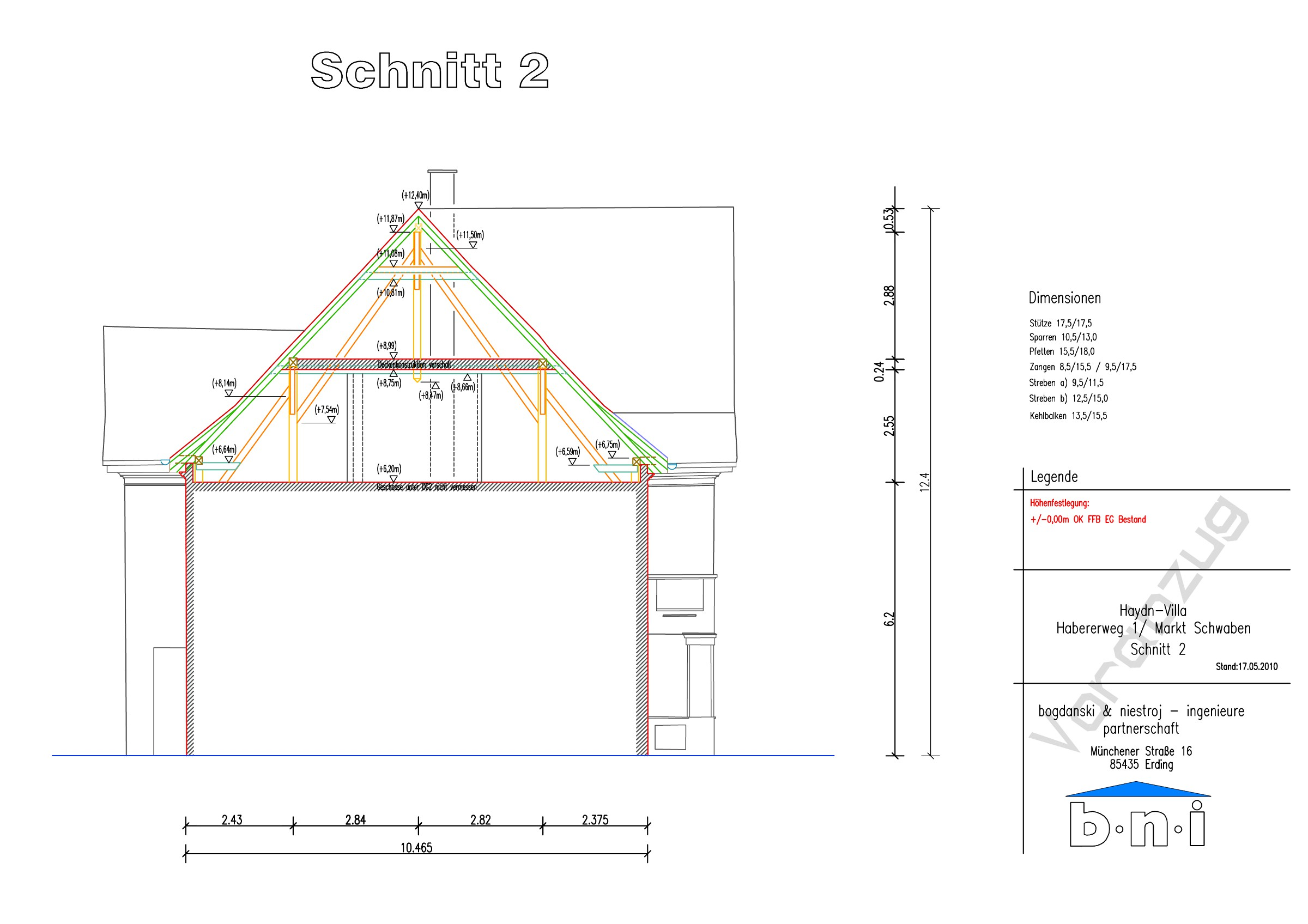 Statik Dachstuhl – Ausbau – Dachdeckung : Haydn-Villa