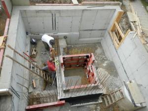Außenwände und Schachtgrube