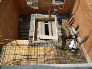 Schalung und Bewehrung Treppe zum Obergeschoß